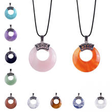 Popular Round Chakra Coin Gemstone Pendant with Silver Findings