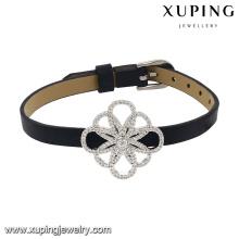 74630 Fashion New Arrival Cubic Zircon Jewelry Bracelet in Black Leather