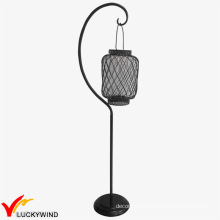Metal Distressed White Candle Lantern Floor Stand