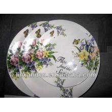 Haonai flower porcelain dinner flat plate sets,white dinnerware set