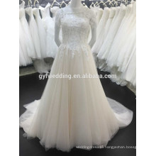 Latest Style Scoop Neck Short Sleeve Lace Applique Beads See Through Button Back Long Puffy Champagne Tulle Wedding Dress 151214