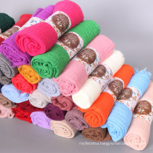 Hot Selling stocked 75 colors Shawls scarf islamic muslim women premium cotton crimple crinkle hijab