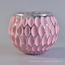 Großhandel Kleine Runde Rosa Glas Mosaik Glas Kerzenhalter