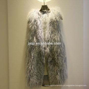 Atacado tibetano mongol cabelo macio Real Fur Lamb Vest