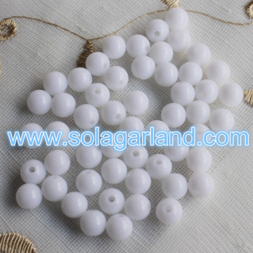 Hot Sale 6-30MM Opaque Snow White Beads Loose Spacer Beads Charms