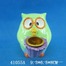 Lovely coruja animal de cerâmica vela titular