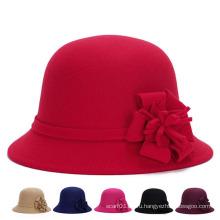 Мода женщин цветок хлопок полиэстер трикотажные зимние ковш Hat (YKY3246)