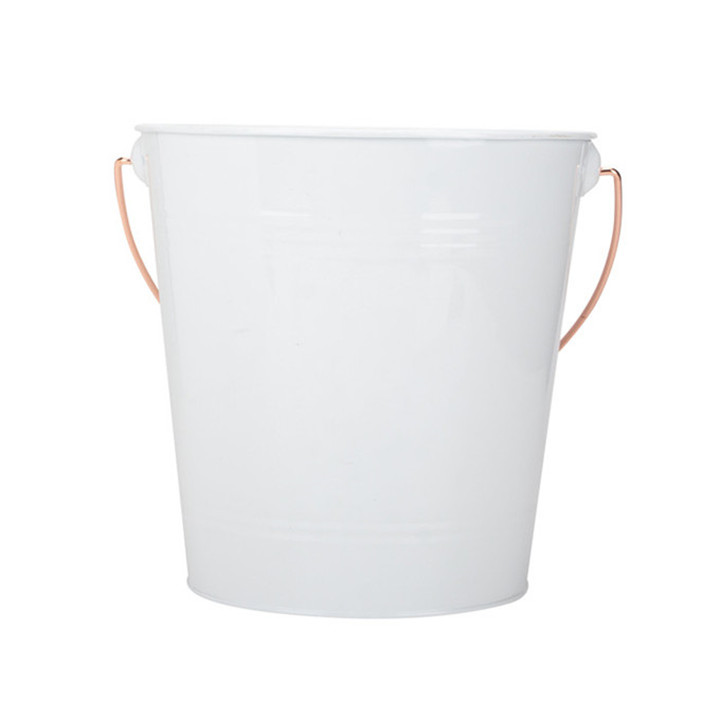Tall White Metal Buckets Snack Bucket