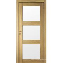 Novo Design Shaker Painel Pre-Hung porta de vidro da porta de madeira