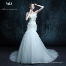 ZXB21 Trumpet Wedding Dresses Tulle Spaghetti Button Floor length Long Dress Bridal Gown Vestidos de Longo Church