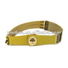 Moda Feminina Amarelo Elástico E Cintos De Couro Real