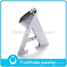 "L-P0039 Shiny Wholesale Stainless Steel Letter ""A"" Alphabet Bead Pendant Chain Necklace"
