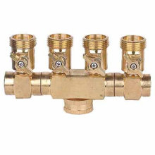 4 way brass hose connector with ball valve for tap