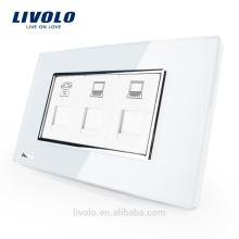 Panneau en verre avec cristaux blancs nacrés standard US / AU Livolo Luxury 3 gangs TEL + COM + Socket VL-C391TCC-81