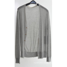 Ladie V Neck Cardigan Pure Color Knitwear with Button