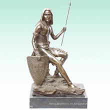 Escultura masculina antigua estatua de latón deco casera soldado Tpy-306