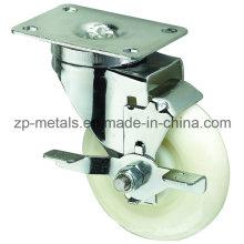 Roue à roulettes pivotante blanche à usage moyen avec frein latéral