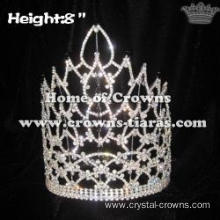 8in Height Crystal Pageant Crowns With Black Diamonds