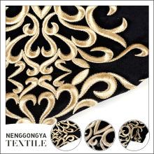 Popular gold floral polyester embroidered flocked velvet fabric for garments