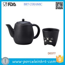 Pot à thé et tasse à thé en céramique japonaise Black Cat