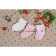 Comfortable Double Cuff Newborn Cotton Socks with Cute Bow in The Cuff