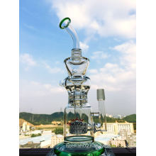 Top Selling Recycle Glass Water Pipes Hbking Hb-K26 12inch Height Inline Percolatore High End Hand Blown Smoking Pipes Enjoylifeworld Supplier