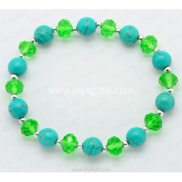 Turquoise semi precious gemstone crystal bracelet charm bangle