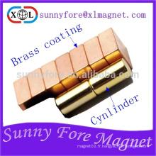 Aimant puissant de x L12mm 6mm dia avec revêtement laiton