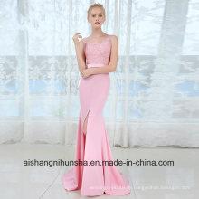 V-Ausschnitt lange Brautjungfer Kleider Sexy ärmellose Hochzeit Party Kleid
