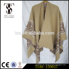 Oversized bufanda de acrílico de peso pesado más reciente diseño cabo chal jacquard tejen pañuelos invierno laides