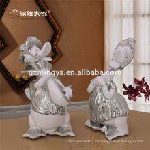 Heiß-Verkauf neues Design Künstliche geschnitzte Harz Handwerk Standing Ente Statue Silber Peaceful Duck Figurine home dekorative