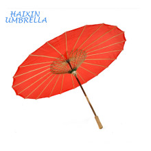 Traditional Folk Style Chinese Zhejiang Classical Red Custom Print Bamboo Frame Oiled Paper Umbrella with Straight Wooden Handle
