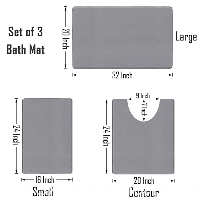 Memory Foam Bath Mat 3pcs Set D