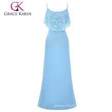 Grace Karin Occident Women's Summer Spaghetti Straps Long Light blue Beach Dress Maxi Dress CL008933-3