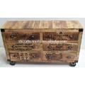 wooden vintage industrial sideboard
