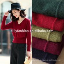 Caxemira feminina design novo tricô bonito suéter com bolsos