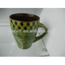 Green Ceramic Mug With Spoon