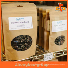 Personalizado marrom zip superior papel resealable saco de alimentos para alimentos secos embalagem com janela