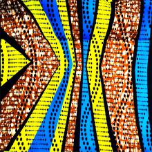 Tissu de cire de l'Afrique de polyester tissé par motif multicolore