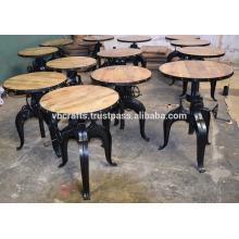 Industrial Crank Cafe Table Mango Madeira Top Round Iron Emoldurado