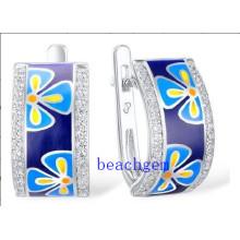 Hot Sale 925 Sterling Silver Epoxy Resin Earrings (E309858)
