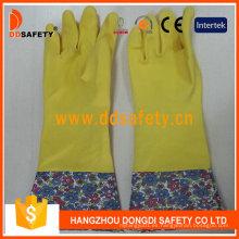 Guantes de casa de látex de látex de látex amarillo doméstico DHL713
