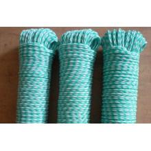 Corde polyester tressée double couleur creuse