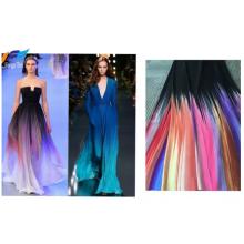 Rainbow Nida Printed Polyester Crepe Abaya Dress Fabric