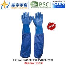 Guantes revestidos de PVC de manga larga extra, guantes de trabajo con CE, En388, En420