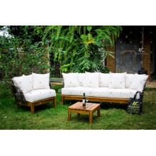 Sofá de rattan de poli conjunto con Acacia patas de madera para jardín al aire libre