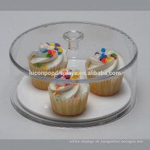 Round Counter Top Showcase Design Kuchen Einzelhandel Shop Custom Staubdicht Klar Acryl Food Display Stand