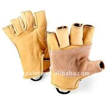 Cow Grain Leather Sport Fingerless Climbing Glove