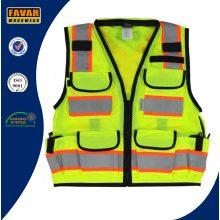 12 Estilo de bolsillo Hi Vis chaleco de seguridad reflectante de cinta