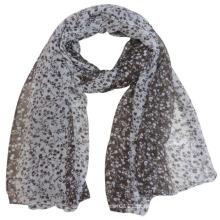 Senhora moda flor impresso poliéster voile lenço de seda (yky4226)